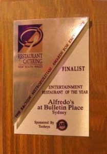 Entertainment Restaurant of the YearFinalist1998, 1999, 2000, 2001, 2002
